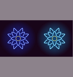 neon lotus with backlight in blue and light blue vector image