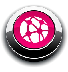 Network 3d round button vector