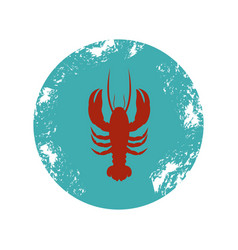 old blue circular border with silhouette lobster vector image