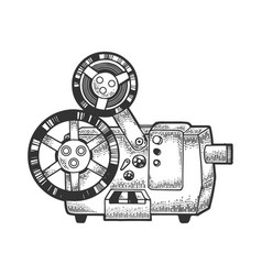 old film projector sketch engraving vector image