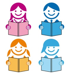 People with books icons vector