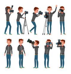 Photographer modern camera posing full vector