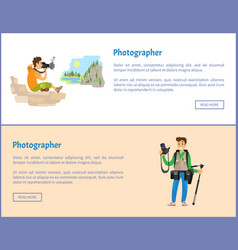 Photographers with cameras internet banners set vector