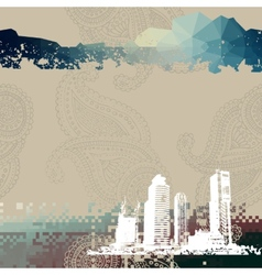 Place for text with grunge city vector image