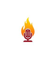 Podcast fire logo icon design vector
