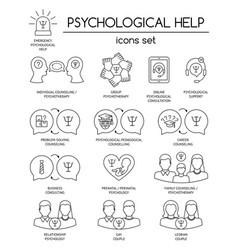 Psychological help set of linear icons symbols vector