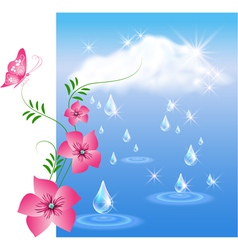 Rain and flowers vector image