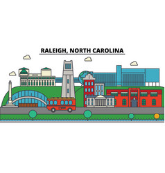 Raleigh north carolina city skyline architecture vector