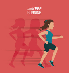 Red background of poster keep running with female vector