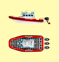 Rescuers on the boat 2 vector