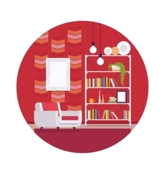 Retro interior with red walls in a circle vector image