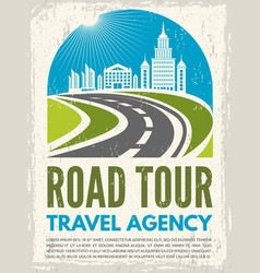Retro poster with of highway vector
