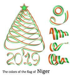Ribbon christmas tree colors of niger vector