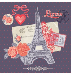 Scrapbook Design Elements - Paris Vintage Card vector image