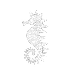 Seahorse sea underwater nature adult black and vector