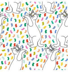 Seamless pattern kittens playing with confetti vector