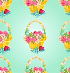 Seamless texture flower basket celebration vector