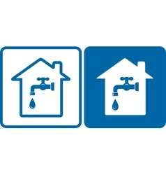 Set of house and water tap vector