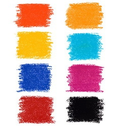 set pastel crayon spots isolated on white vector image
