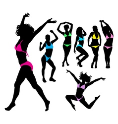 Sexy girl bikini silhouettes vector