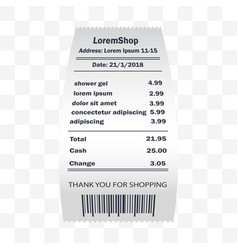 shower gel receipt printed paper financial check vector image