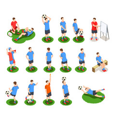 Soccer players icon set vector