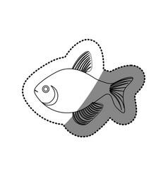 sticker silhouette fish aquatic animal icon vector image