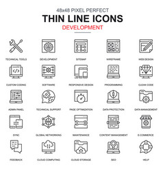 thin line web design and development icons set vector image