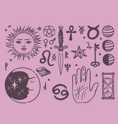 Trendy esoteric symbols sketch hand drawn vector