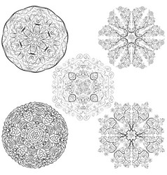 Tribal native style five mandalas flowers set vector