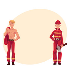 Two firefighters firemen one at work another vector