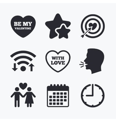 Valentine day love icons Target aim with heart vector image