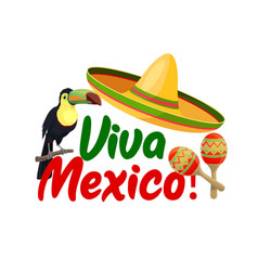 viva mexico icon with sombrero and toucan vector image