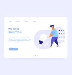 We have solution landing page concept vector