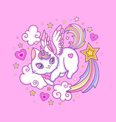 white cat unicorn among stars and clouds vector image