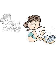 Woman cooking fish vector image
