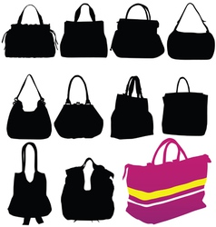 woman fashion bag black silhouette vector image