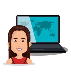 woman laptop globe online isolated vector image