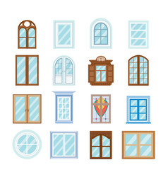 wood window frames architecture design outdoor vector image