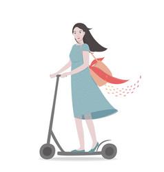 Young pretty girl riding a scooter cartoon vector