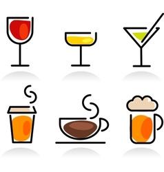 colorful beverage icon set vector image vector image