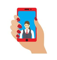 Selfie photo on smartphone vector image vector image