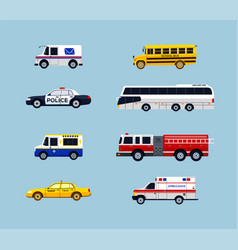 vehicle transportation - flat design icons vector image