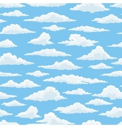 White clouds blue sky seamless pattern vector image