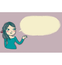 Young girl speaking vector image vector image