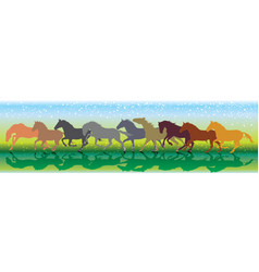 background with horses running gallop vector image