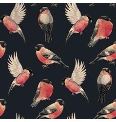 Watercolor bullfinch bird pattern vector image vector image
