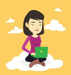 woman using cloud computing technology vector image vector image