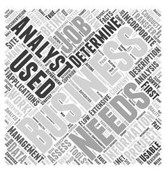 Business analyst job description word cloud vector