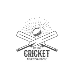 Cricket emblem and design elements championship vector image